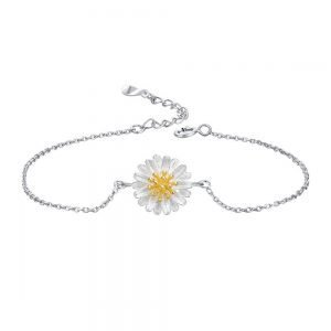 Daisy with yellow cubic zirconia braclet