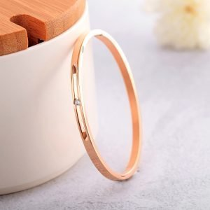 Minimal Solitaire Bangle- Rose Gold