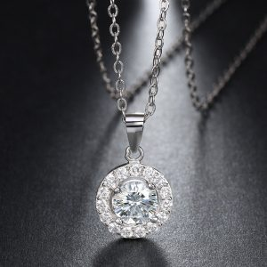 Simple Solitaire Pendant with Halo