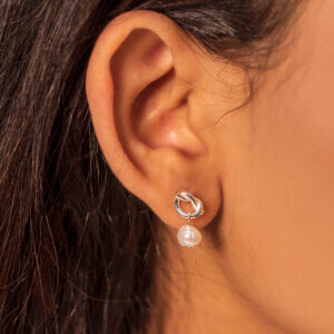 Pearl and Auspicious Knot Ear Studs - Silver