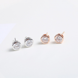 Dainty Rose Gold Studs- Silver